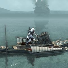 Ezio vernietigt het kanon.