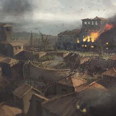 Concept art van Monteriggioni tijdens het beleg.