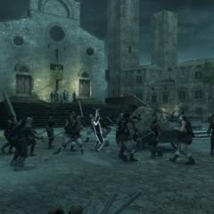 De huurlingen vallen de Pazzi's aan.