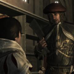 Leonardo zegt dat hij Ezio's vinger er af moet hakken.