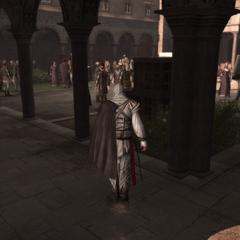 Ezio in het klooster.