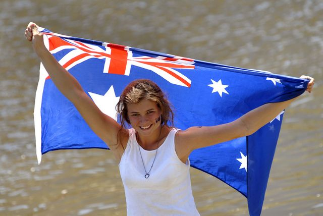 File:Australian flag girl beach.jpg