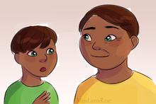Boy and Well-Dressed Man Talk by MissLunaRose