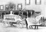 Horse-drawn funeral hearse with driver, outside Neil Regan Funeral Home, Scranton, PA (circa 1900)