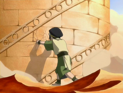 Toph slowing down the library