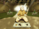 Aang with the Avatar relics