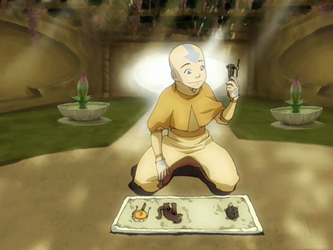 Archivo:Aang with the Avatar relics.png