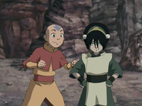Excited Aang and Toph