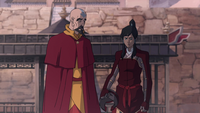 Tenzin and a frustrated Korra
