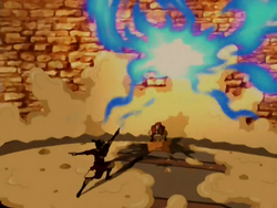 Aang wrecks the drill.png
