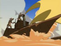 Sandbenders using a sand-sailer