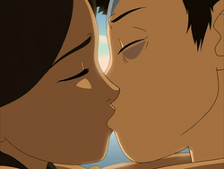 Aang and Katara kiss in a dream