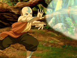 Aang testing his airbending on the lion turtle.png