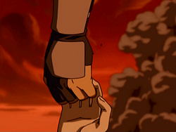 Toph and Sokka holding hands