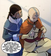 Katara reminding Aang