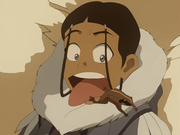 Katara and a wood frog.png