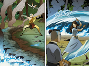 Aang and Katara extinuish the fire.png