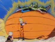Goku Preparing to Take the Exploding Cell to King Kai's Planet