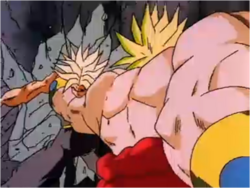 Broly Slamming Ascended Super Saiyan Trunks into a Wall