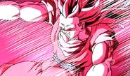 Super Saiyan 3 Goku Being Blasted by Majin Buu