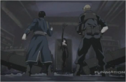 Lust Slices Pipes When Roy Mustang Confronts Her, Soaking His Gloves