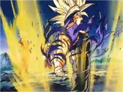 Trunks Shreds his Jacket by Becoming an Ascended Super Saiyan