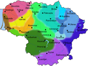 Map of dialects of Lithuanian language