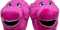 Barney Plush Slippers with Embroidery