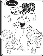 Barney Top 20 Countdown Colouring Page
