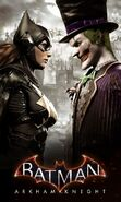 Arkham Knight Batgirl vs Joker face-off poster