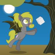 1417348 safe artist-colon-parclytaxel oc oc+only oc-colon-soma absurd+res bat+pony cube fangs female flying full+moon hairband mare math moon night po
