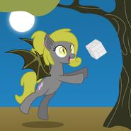 1417348 safe artist-colon-parclytaxel oc oc+only oc-colon-soma absurd+res bat+pony cube fangs female flying full+moon hairband mare math moon night po