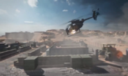 Helicopter strafe run
