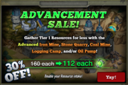 Advancement Sale