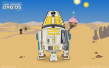 Blue-yellow droid with a birthday cupcake