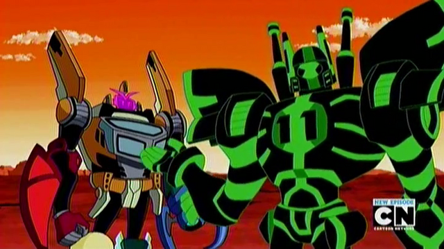 File:Upgrade in his battle form and otto with the cars.png