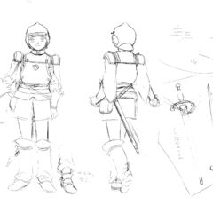 Front and back view sketches of an older Rickert clad in armor, with illustrations of his sword, for the 1997 anime.