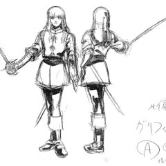 Front and back view sketches of Griffith holding his sword for the 1997 anime.