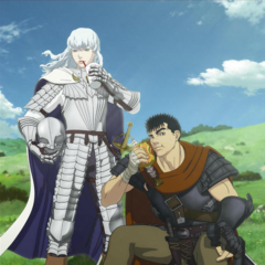 Promotional poster featuring Guts and Griffith eating fast food items from the Japanese fast food chain <a href=