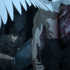 Guts impales the Imp after blowing off his face.