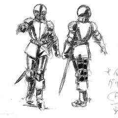 Front and back view sketches of Griffith's armor for the 1997 anime.