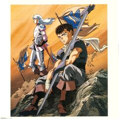 Art of Guts and Griffith on the battlefield for the 1997 anime.