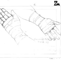 Guts' bandaged hand concept sketches for the 1997 anime.