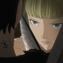 Farnese is interrogated by Guts as to the location of <a href=
