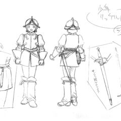 Front and back view sketches of a younger Rickert clad in armor, with illustrations of his satchel and sword, for the 1997 anime.