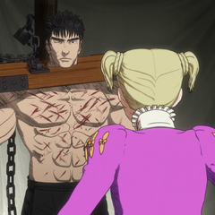 Farnese whips Guts for his heretical comments.