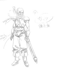 A full body sketch of Guts as a young mercenary, fully armored, for the 1997 anime.