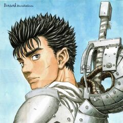 A young Guts wears armor.
