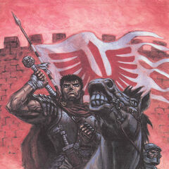 Guts mounts his steed in front of a Band of the Hawk flag.