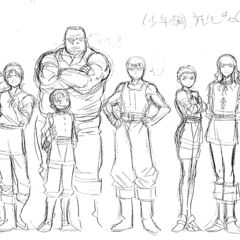 A height comparison between a young Guts, <a href=